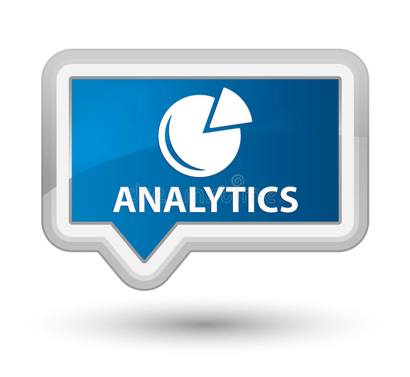 Analytics (graph icon) prime blue banner button. Analytics (graph icon) isolated on prime blue banner button abstract illustration royalty free illustration