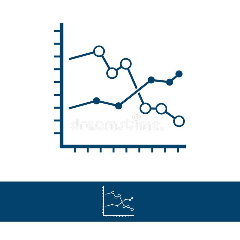 Analytics graph line and glyph icon, development and business vector illustration