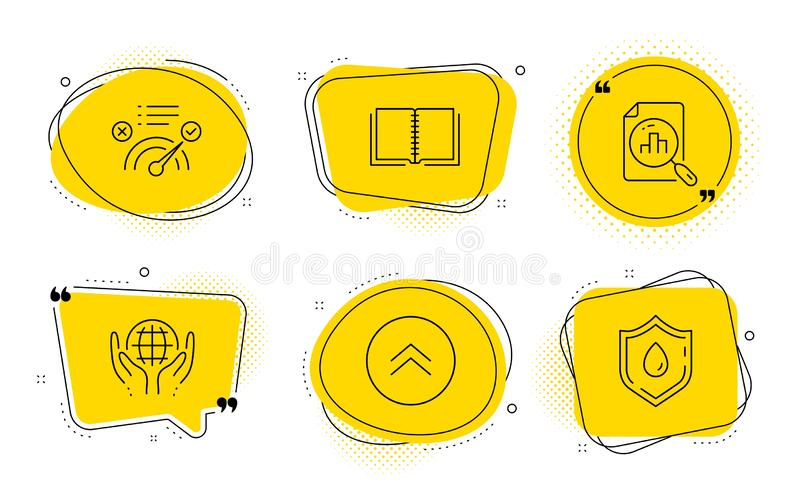 Book, Organic tested and Correct answer icons set. Analytics graph, Swipe up and Blood donation signs. Vector vector illustration