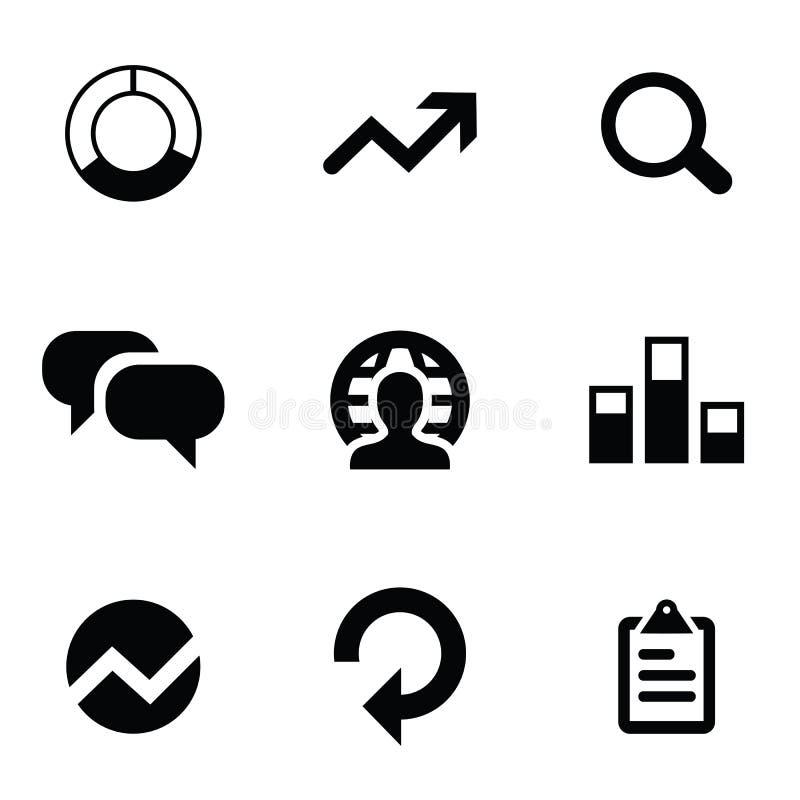 Analytics 9 icônes réglées illustration stock