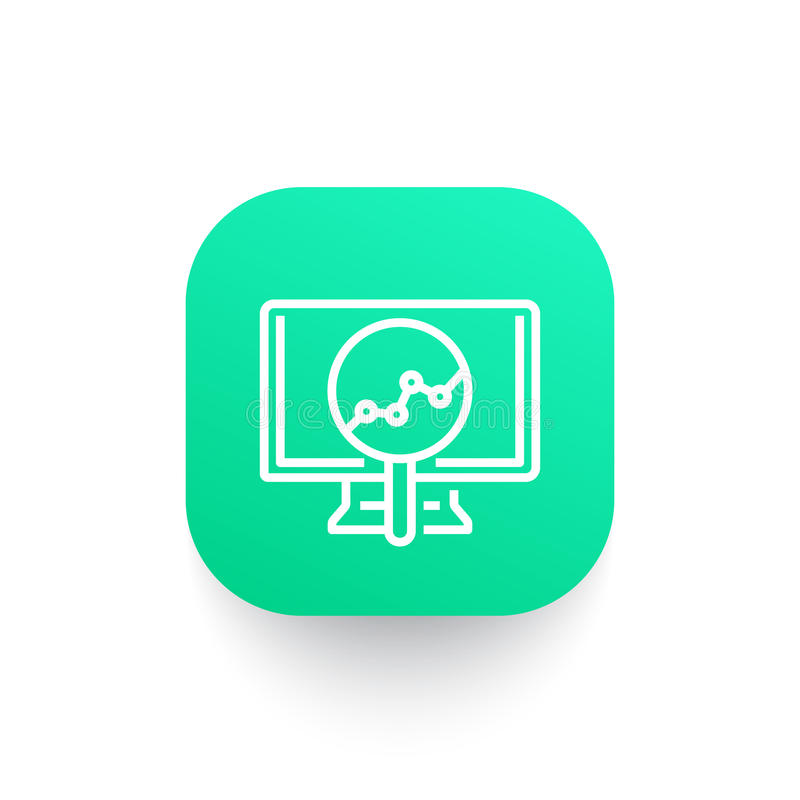 Analytics icon, statistic graph on computer screen vector illustration