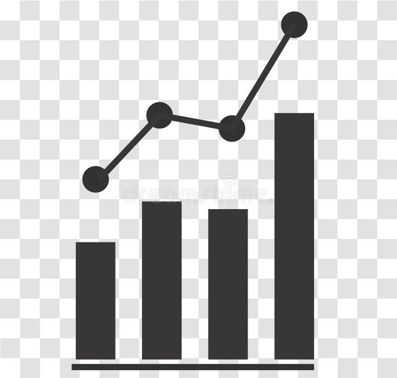 Analytics icon on transparent. analytics sign. flat style. Bar chart analytics symbol royalty free illustration