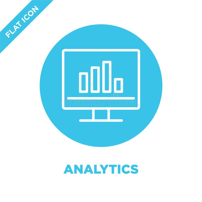 analytics icon vector. Thin line analytics outline icon vector illustration.analytics symbol for use on web and mobile apps, logo vector illustration