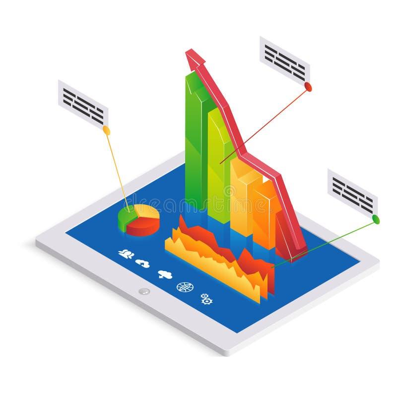 Analytics of infographicsmalplaatje van PC royalty-vrije illustratie