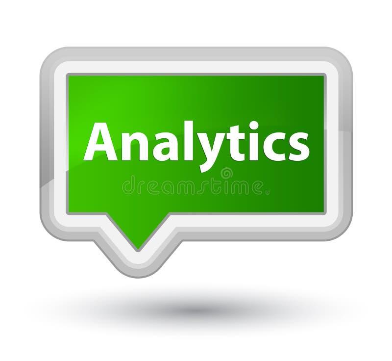 Analytics prime green banner button. Analytics isolated on prime green banner button abstract illustration stock illustration