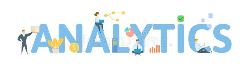 analytics Konzept mit Leuten, Buchstaben und Ikonen Flache Vektorillustration Getrennt auf wei?em Hintergrund stock abbildung