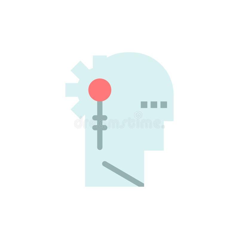 Analytics, kritisch, menschlich, Informationen, flache Farbikone verarbeitend Vektorikonen-Fahne Schablone stock abbildung