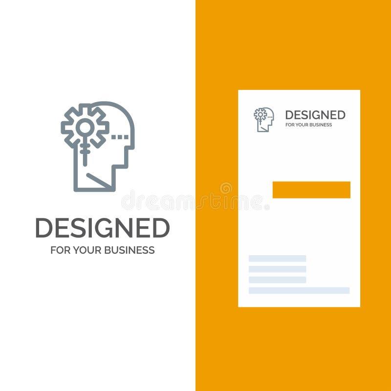 Analytics, kritisches, menschliches, Informationen, Grey Logo Design- und Visitenkarte-Schablone verarbeitend stock abbildung