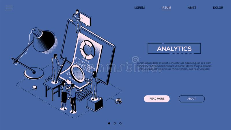 Analytics - line design style isometric web banner. On blue background with copy space for text. A header with business team standing next to computer with stock illustration