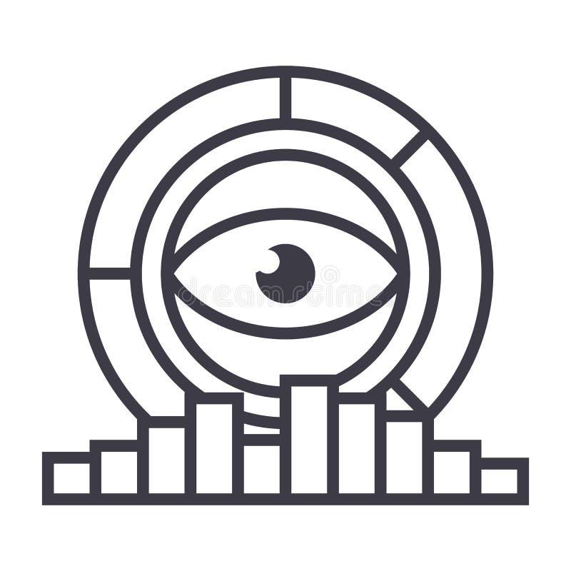 Analytics marknadsföringsforskning, diagramvektorlinje symbol, tecken, illustration på bakgrund, redigerbara slaglängder stock illustrationer