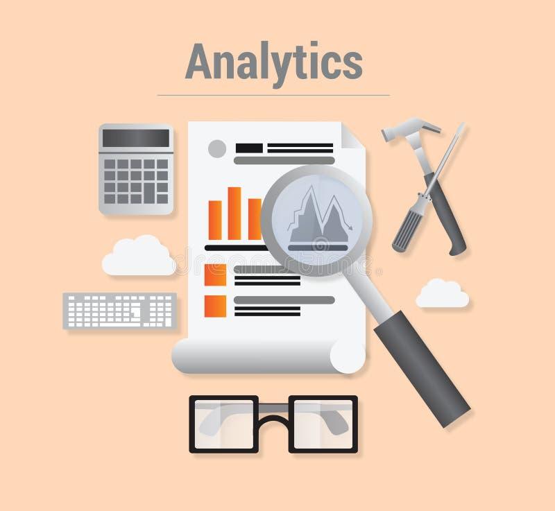 Analytics med data och förstoringsglaset vektor illustrationer