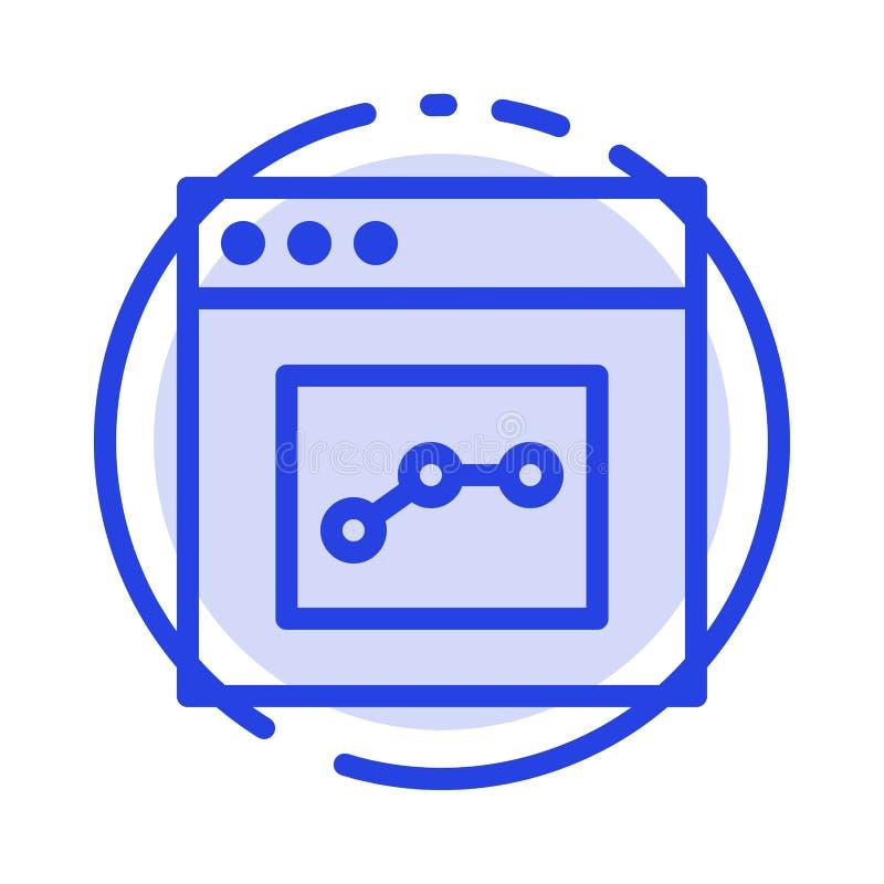 Analytics, Mededeling, Interface, de Lijnpictogram van de Gebruikers Blauw Gestippelde Lijn vector illustratie