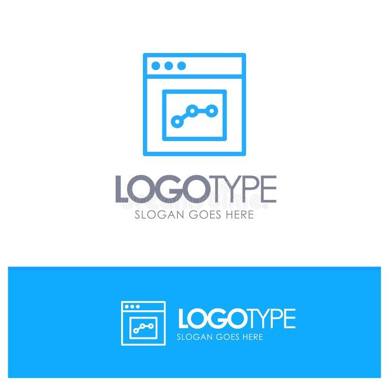 Analytics, Mededeling, Interface, Gebruikers Blauw Overzicht Logo Place voor Tagline stock illustratie