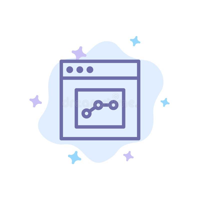 Analytics, Mededeling, Interface, Gebruikers Blauw Pictogram op Abstracte Wolkenachtergrond royalty-vrije illustratie