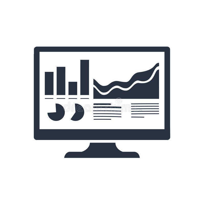 Analytics-Monitorikone Modische flache Vektor Analytics überwachen Ikone auf transparentem Hintergrund von Geschäft Analytics stock abbildung