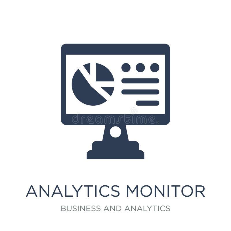 Analytics-Monitorikone Modisches flaches Vektor Analytics-Monitor ico lizenzfreie abbildung