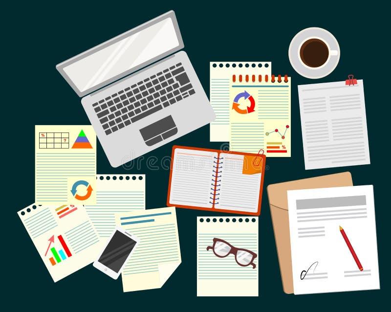 analytics Negocios Estudio de la estrategia empresarial oficina Organización realista del lugar de trabajo Ordenador portátil, pa ilustración del vector