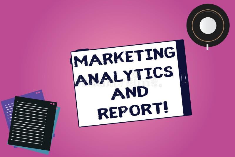 Analytics och rapport för handskrifttextmarknadsföring Begrepp som betyder annonsera strategiminnestavlan för befordrings- aktion royaltyfri illustrationer