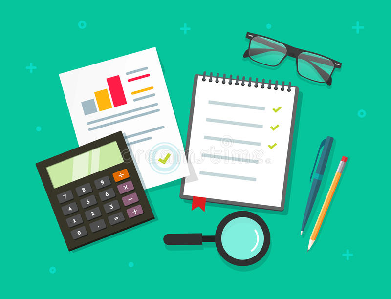 Analytics planning things data on table top view, audit evaluation process, financial research report with graphs royalty free illustration