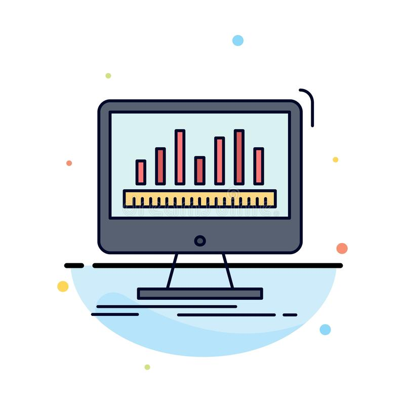 Analytics, processing, dashboard, data, stats Flat Color Icon Vector stock illustration