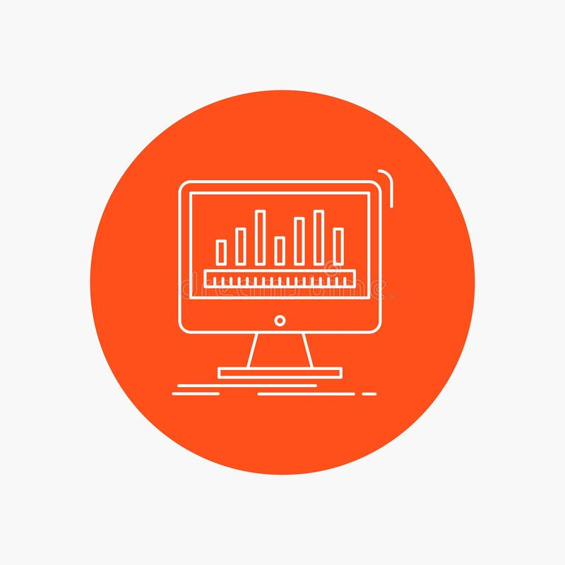 analytics, processing, dashboard, data, stats White Line Icon in Circle background. vector icon illustration royalty free illustration
