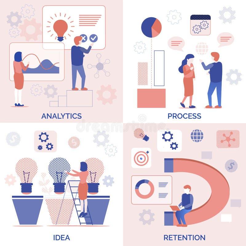 Analytics-Prozessideen-Zurückhalten-Satz für Geschäft lizenzfreie abbildung
