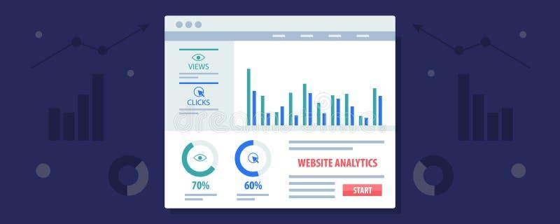 Analytics que exhibe en un tablero de instrumentos, análisis de datos, márketing, medida del sitio web del negocio Bandera plana  stock de ilustración