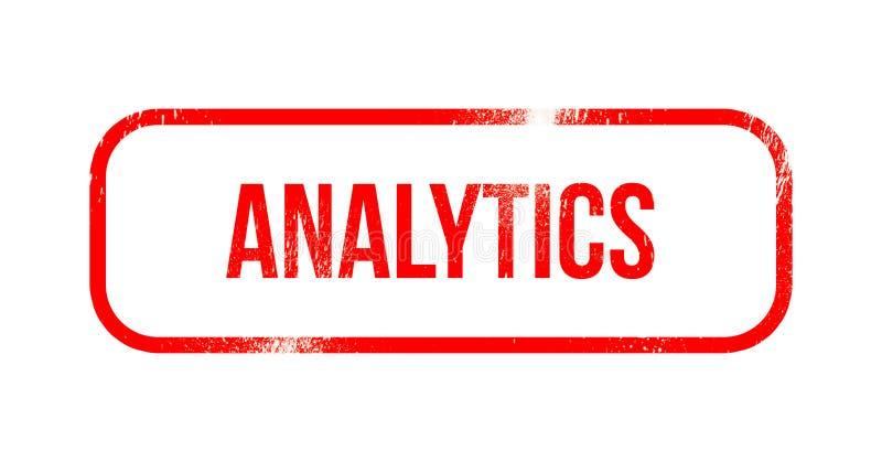 Analytics - rött grungegummi, stämpel stock illustrationer