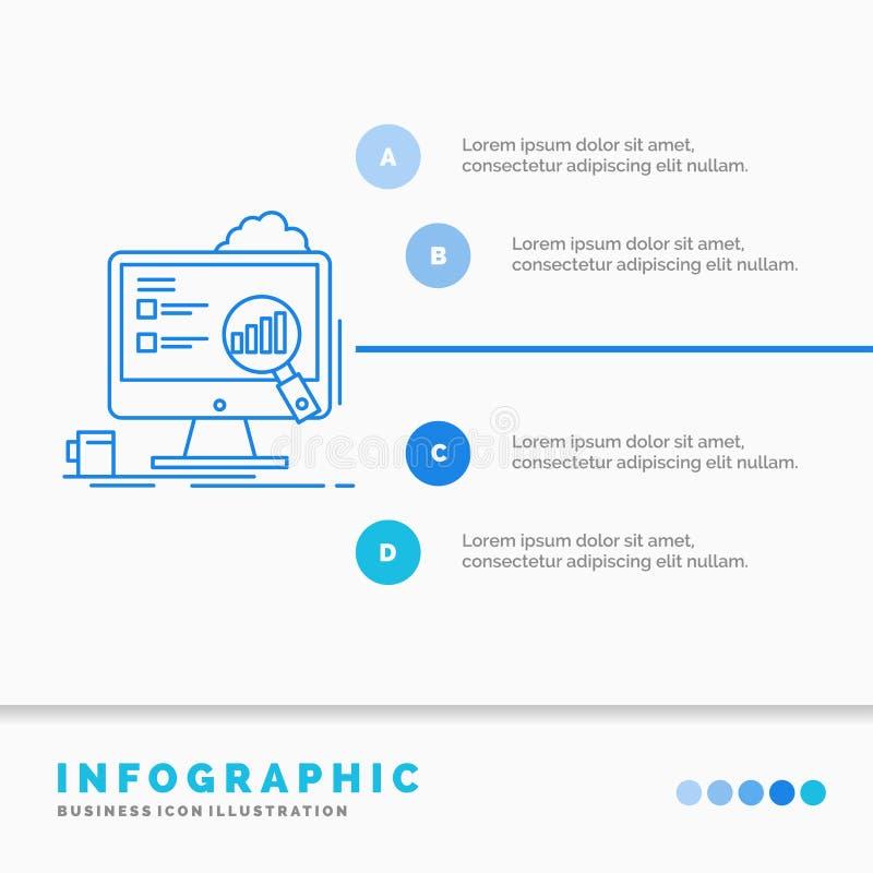 analytics, raad, presentatie, laptop, het Malplaatje van statistiekeninfographics voor Website en Presentatie r royalty-vrije illustratie