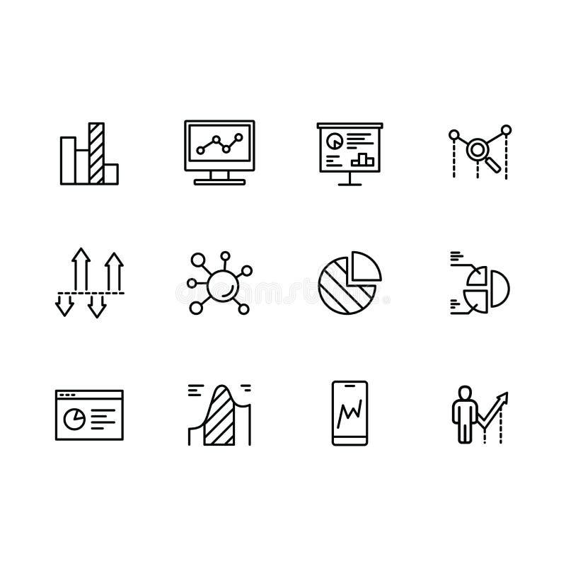 Analytics simple de los datos de los iconos del sistema, estrategia, análisis de negocio y planificación de empresas, gráficos fi libre illustration
