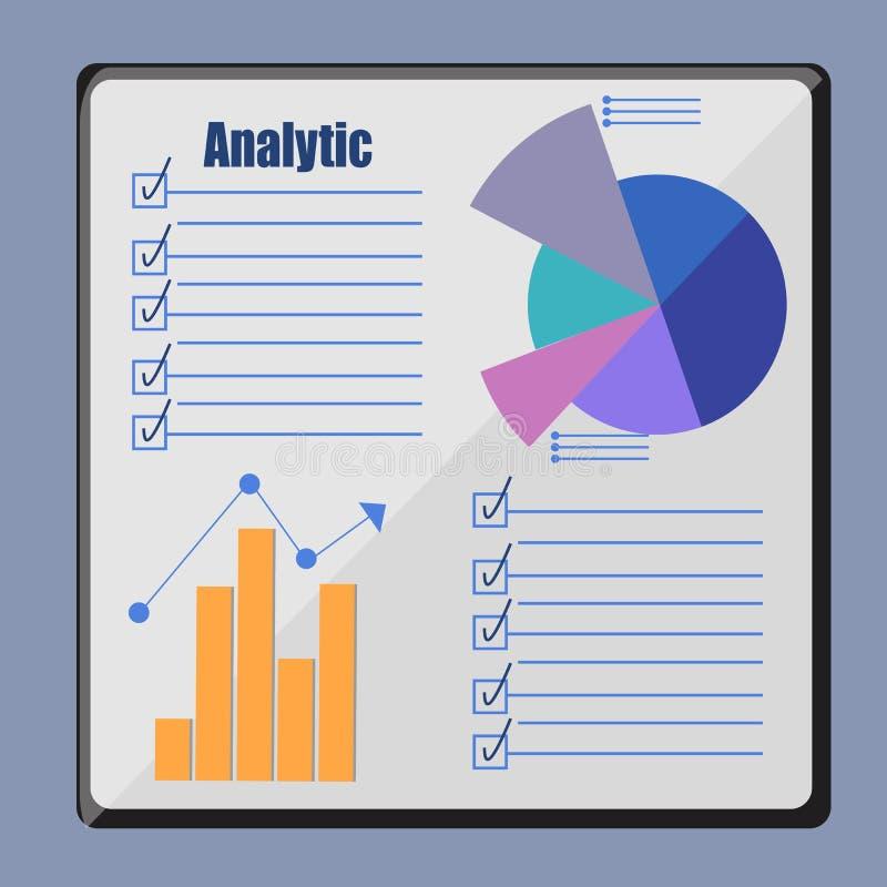 Analytics som är infographic på brädet, stock illustrationer