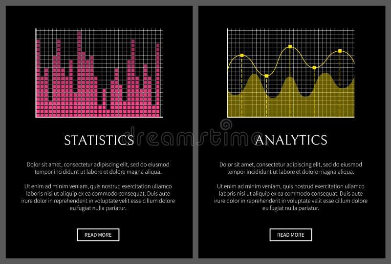 Analytics and Statistics Black Vector Illustration royalty free illustration