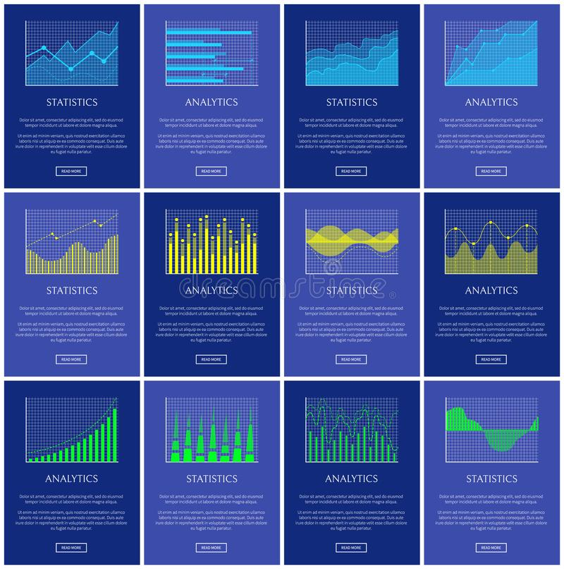 Analytics and Statistics Chart Vector Illustration. Lines dots and waves graphics, graphical charts collection isolated on blue, statistics diagrams stock illustration