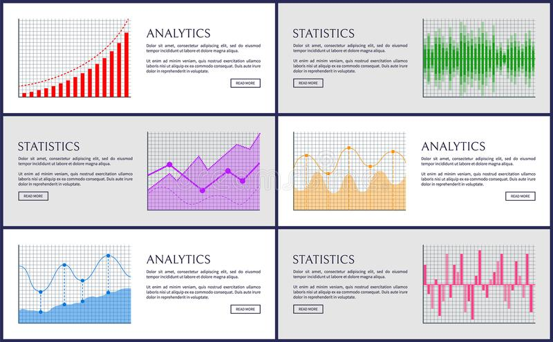 Analytics and Statistics, Color Charts Collection royalty free illustration