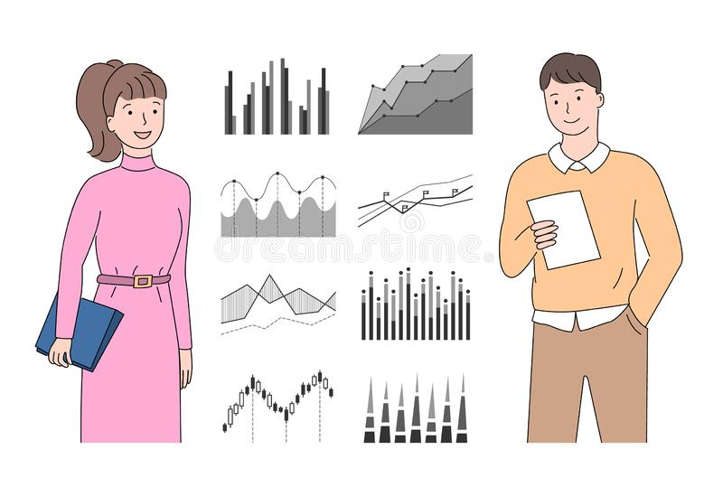 Analytics and Statistics, Data Visual Form Vector. People with infocharts and infographics vector, man and woman holding papers and reports checking results with vector illustration