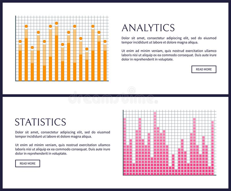 Analytics and Statistics Graphics on Web Pages vector illustration