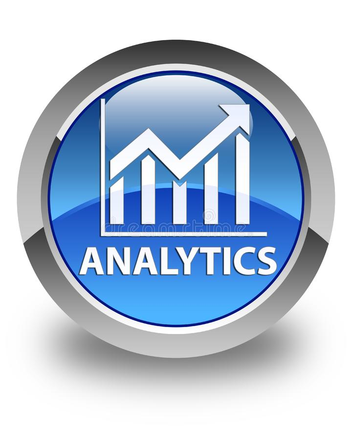 Analytics (statistics icon) glossy blue round button. Analytics (statistics icon) isolated on glossy blue round button abstract illustration royalty free illustration