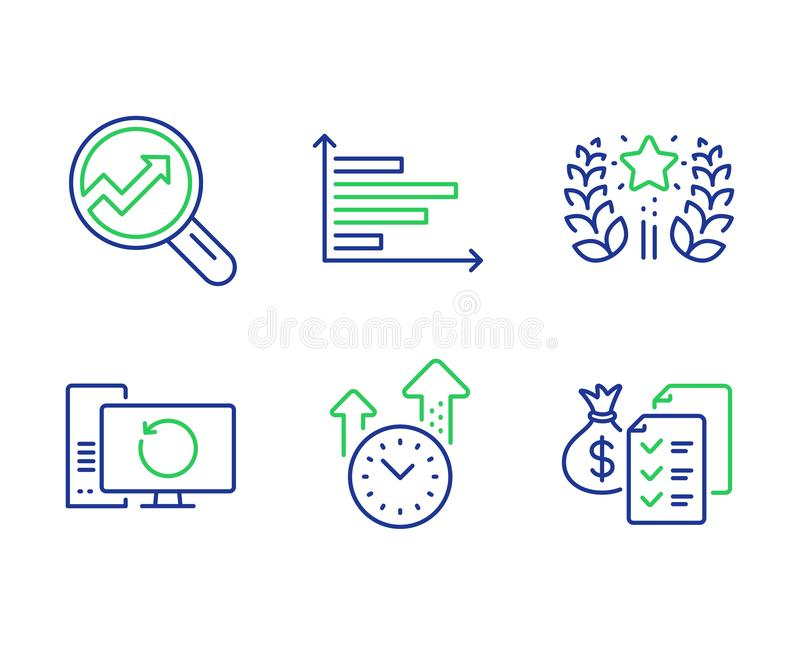Analytics, Time management and Recovery computer icons set. Vector. Analytics, Time management and Recovery computer line icons set. Horizontal chart, Ranking royalty free illustration