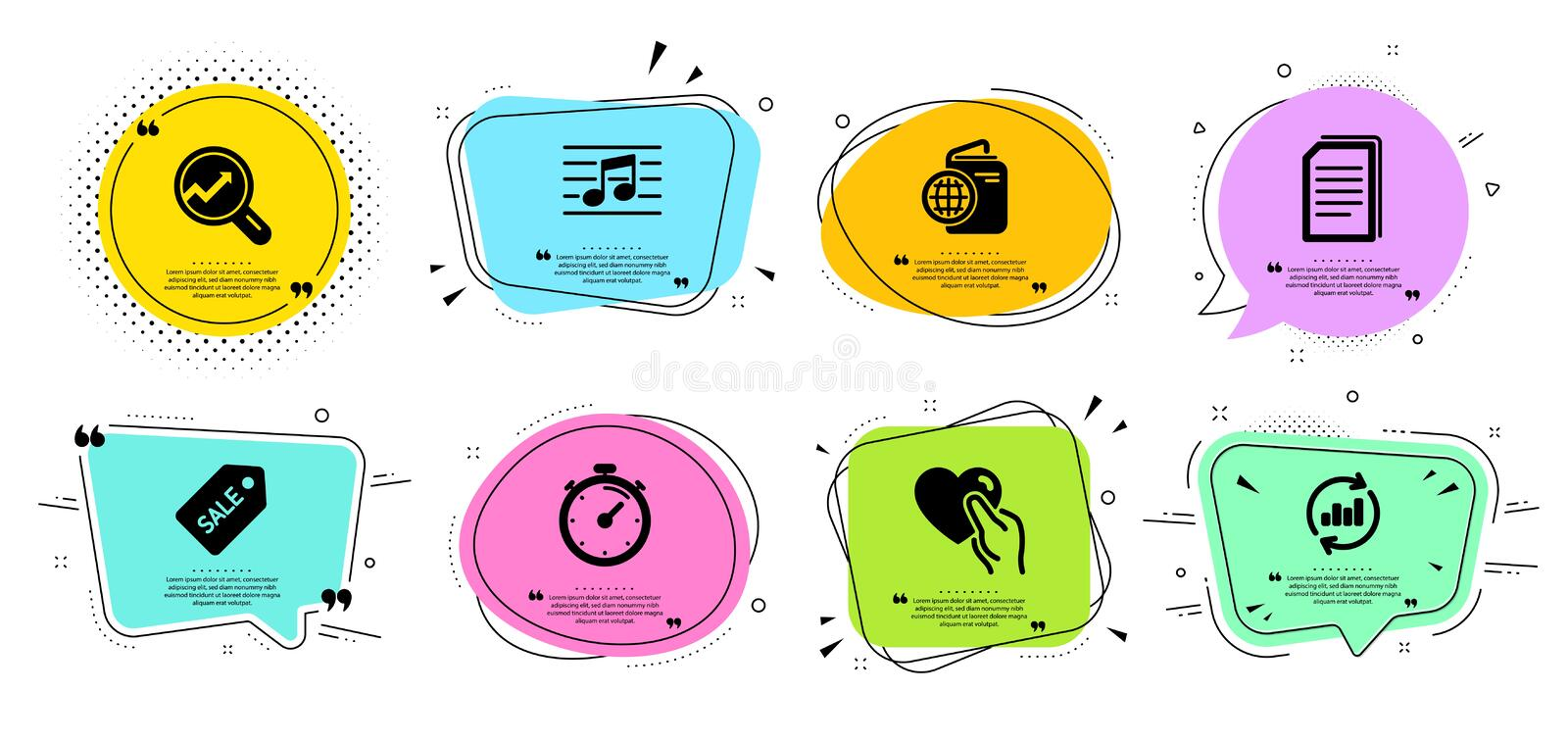 Analytics, Timer and Update data icons set. Hold heart, Musical note and Copy files signs. Vector. Analytics, Timer and Update data line icons set. Chat bubbles royalty free illustration