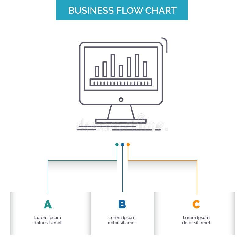Analytics, verarbeitend, Armaturenbrett, Daten, Notfall-Geschäfts-Flussdiagramm-Entwurf mit 3 Schritten Linie Ikone f?r Darstellu stock abbildung