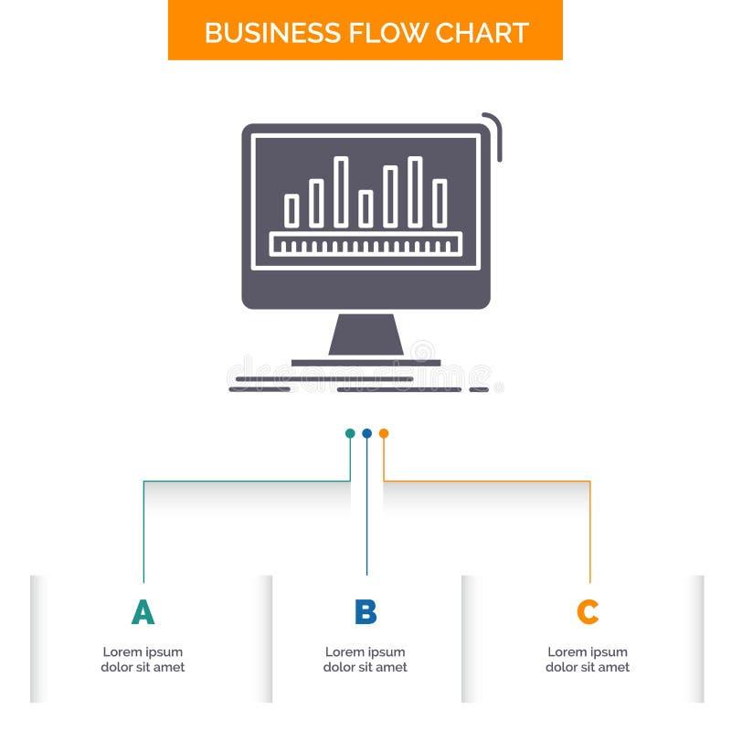 Analytics, verarbeitend, Armaturenbrett, Daten, Notfall-Gesch?fts-Flussdiagramm-Entwurf mit 3 Schritten Glyph-Ikone f?r Darstellu lizenzfreie abbildung