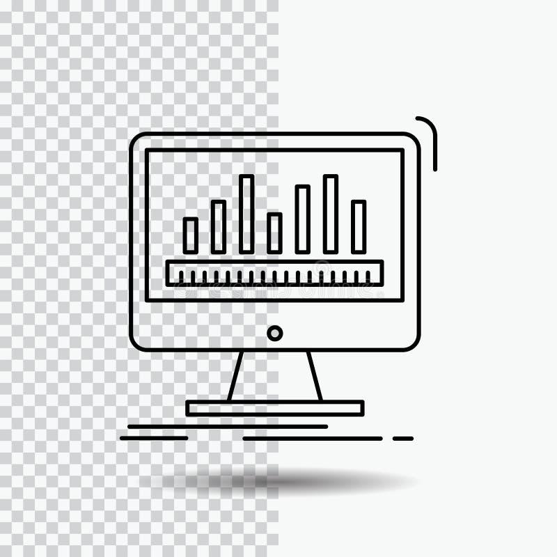 Analytics, verarbeitend, Armaturenbrett, Daten, Notfall-Linie Ikone auf transparentem Hintergrund Schwarze Ikonenvektorillustrati vektor abbildung