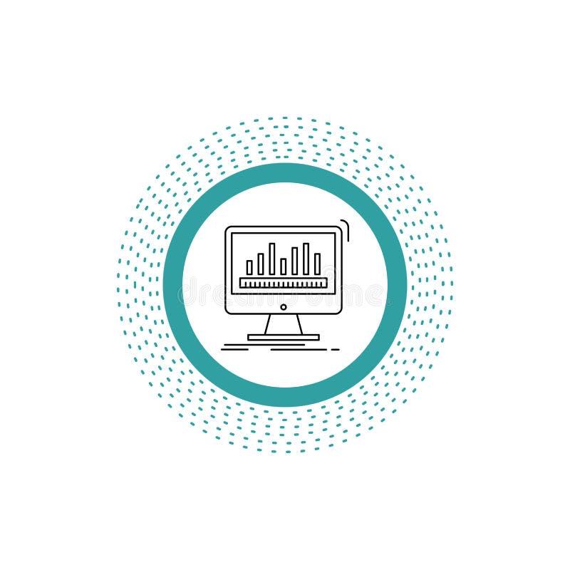 Analytics, verarbeitend, Armaturenbrett, Daten, Notfall-Linie Ikone Vektor lokalisierte Illustration stock abbildung