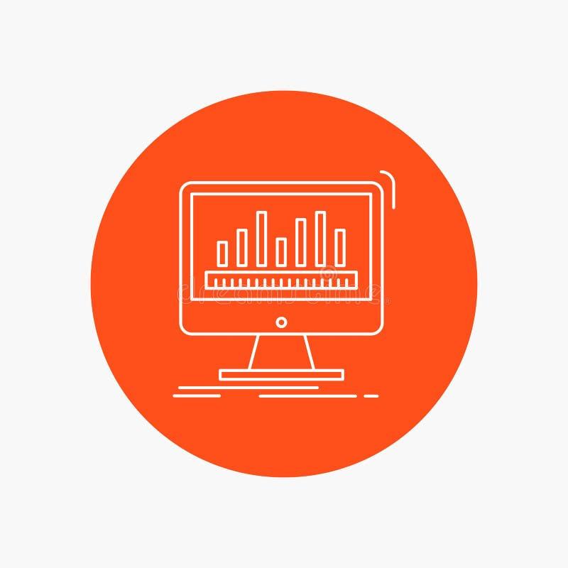 Analytics, verarbeitend, Armaturenbrett, Daten, weiße Linie Ikone Notfall im Kreishintergrund Vektorikonenillustration lizenzfreie abbildung
