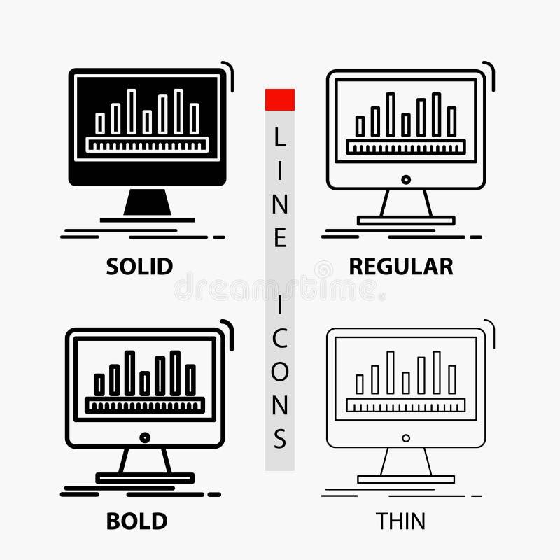 Analytics, Verarbeitung, Armaturenbrett, Daten, Notfall-Ikone in der dünnen, regelmäßigen, mutigen Linie und in der Glyph-Art Auc stock abbildung