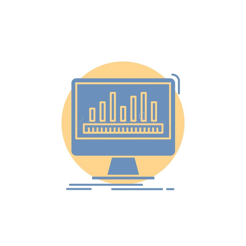 analytics, verwerking, dashboard, gegevens, stats Glyph-Pictogram stock illustratie