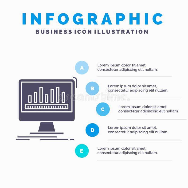 analytics, verwerking, dashboard, gegevens, stats Infographics-Malplaatje voor Website en Presentatie GLyph Grijs pictogram met B royalty-vrije illustratie
