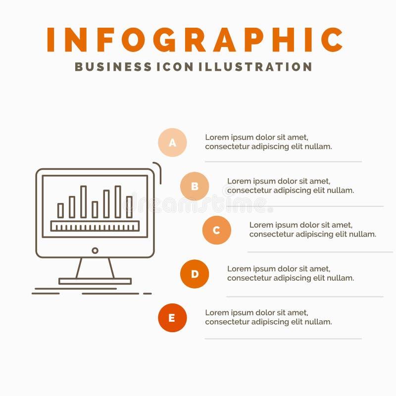 analytics, verwerking, dashboard, gegevens, stats Infographics-Malplaatje voor Website en Presentatie Lijn Grijs pictogram met Si stock illustratie