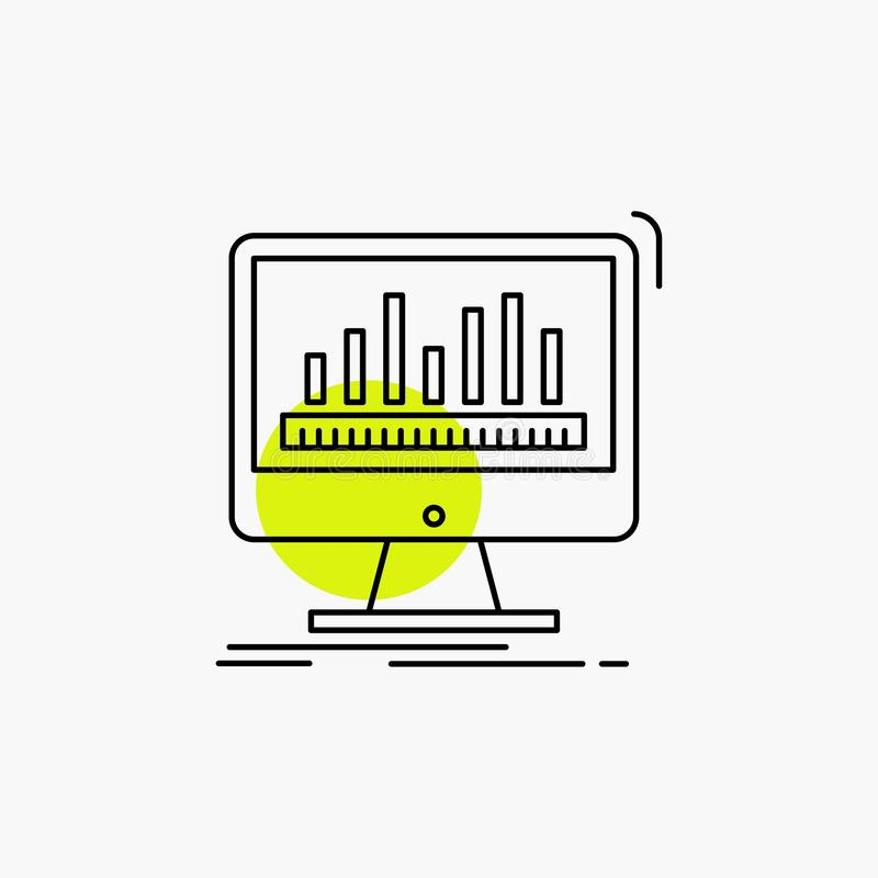 analytics, verwerking, dashboard, gegevens, stats Lijnpictogram stock illustratie