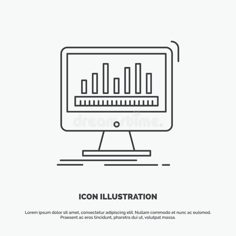 analytics, verwerking, dashboard, gegevens, stats Pictogram Lijn vector grijs symbool voor UI en UX, website of mobiele toepassin royalty-vrije illustratie